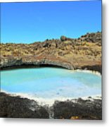 Iceland Blue Lagoon Exploring The Lava Fields Metal Print