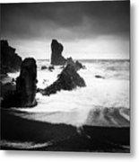 Iceland Dritvik beach and cliffs dramatic black and white Metal Print