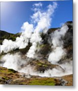 Iceland Geothermal Area With Steam From Hot Springs Metal Print