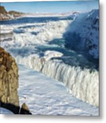 Iceland Gullfoss Waterfall In Winter With Snow Metal Print