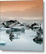 Iceland, Jokulsarlon Glacial Lagoon , Icebergs Melting Metal Print