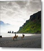 Icelandic Horses On The Beach In Vik Iceland Metal Print