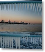 Icicles And Chicago Skyline Metal Print