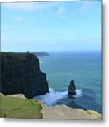 Iconic Needle Rock Formation And The Cliff's Of Moher Metal Print