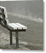 Icy Bench In The Fog Metal Print