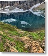 Icy Blue And Lush Green Metal Print
