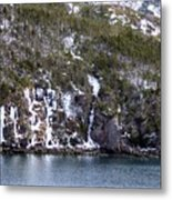 Icy Cliff In Winter Metal Print