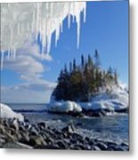 Icy Island View Metal Print