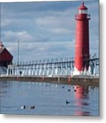 Icy Lighthouse Metal Print