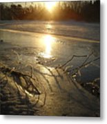 Icy Mississippi River Bank At Sunrise Metal Print