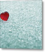 Icy Red Heart Metal Print