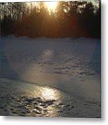 Icy Sunrise Reflection Metal Print