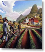 Id Rather Be Farming - Appalachian Farmer Cultivating Peas - Farm Landscape 2 Metal Print