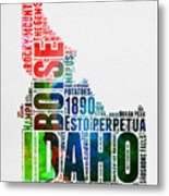 Idaho Watercolor Word Cloud  Metal Print