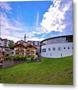 Idyllic Alpine Town Of Kastelruth On Green Hill View Metal Print
