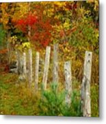 If I Could Paint No 1 - New England Fall Fence Metal Print