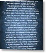 If Poem Blue Canvas Metal Print
