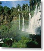 Iguazu Waterfalls With A Rainbow Metal Print