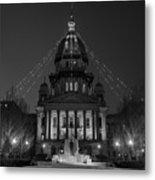 Illinois State Capitol B W Metal Print