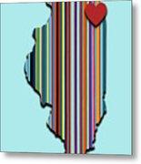 Illinois With Love Geometric Map Metal Print