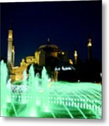 Illuminated Fountain Of Istanbul Metal Print