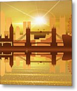 Illustration Of City Skyline - London  Sunset Panorama Metal Print