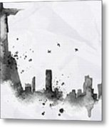 Illustration Of City Skyline - Rio De Janeiro In Chinese Ink Metal Print