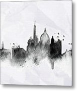 Illustration Of City Skyline - Rome In Chinese Ink Metal Print