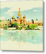 Illustration Of Moscow In Watercolour Metal Print