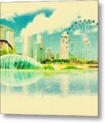Illustration Of Singapore In Watercolour Metal Print