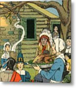 Illustration Of The First Thanksgiving Metal Print