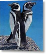 I'm Not Talking To You - Penguins Metal Print