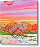 My Imagination Of China's Vast Rainbow Mountains Metal Print