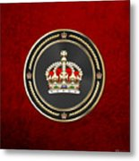 Imperial Tudor Crown Over Red Velvet Metal Print