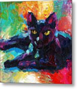 Impressionistic Black Cat Painting 2 Metal Print
