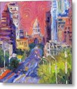Impressionistic Downtown Austin City Painting Metal Print