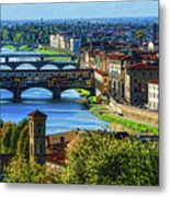 Impressions Of Florence - Long Blue Shadows On The Arno River Metal Print
