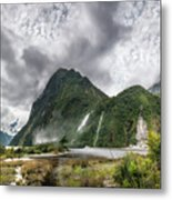 Impressive Weather Conditions At Milford Sound Metal Print
