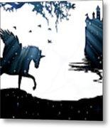 In A Dream, Unicorn, Pegasus And Castle Modern Minimalist Style Metal Print
