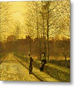 In The Golden Gloaming Metal Print by John Atkinson Grimshaw