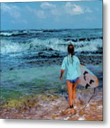 In The Hope Of A Big Wave Metal Print