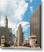In The Middle Of Wacker And Michigan Metal Print