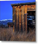 In The Shadow Of The Mountains Metal Print