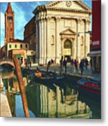 In The Waters Of The Many Venetian Canals Reflected The Majestic Cathedrals, Towers And Bridges Metal Print