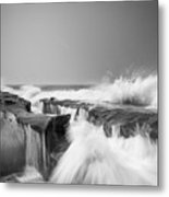 Incoming  La Jolla Rock Formations Black And White Metal Print