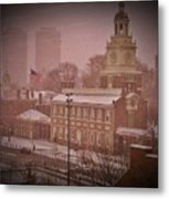 Independence Hall In The Snow Metal Print