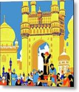 India, Castle, People, Street Metal Print