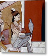 India: Lady & Hawk, C1570 Metal Print