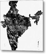 Map Of India-black Metal Print