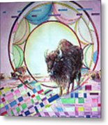 Indian Buffalo Circle Metal Print